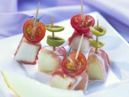 Melonen-Schinkenspießchen