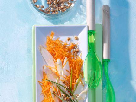 Möhren-Rohkost mit Spargel und Sprossen