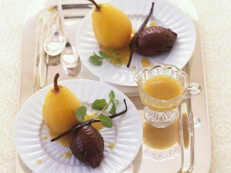 Mousse au Chocolat mit Weißwein-Birne