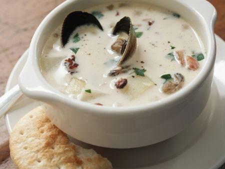 Muschelsuppe auf amerikanische Art (Clam Chowder)