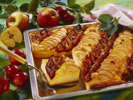 Rezept: Obstkuchen mit Vanillecreme