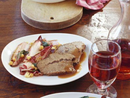 Ochsenbraten in Rotweinsoße