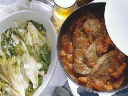 Rezept: Ochsenfleisch mit geschmortem Endiviengemüse