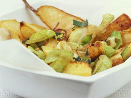 Ofenkartoffeln mit Porree und Birnen