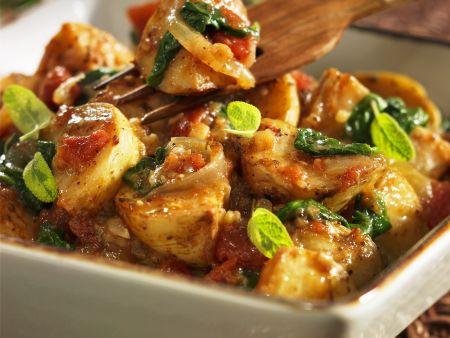 Ofenkartoffeln mit Spinat