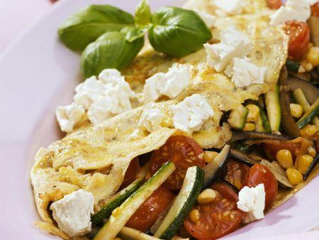 Omelett mit Feta und Gemüse