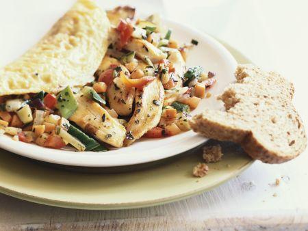 Rezept: Omelett mit Hähnchen-Gemüse-Füllung