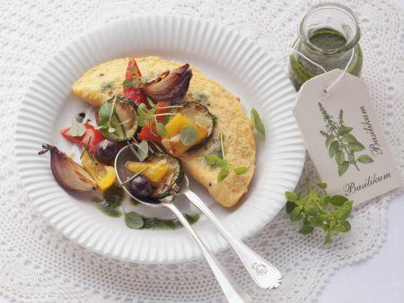 Omelett mit Ofengemüse