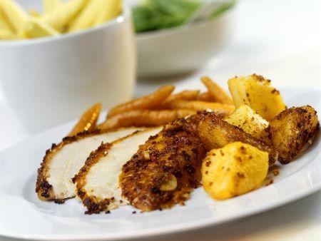 Panierte Hähnchenbrust mit Kartoffeln