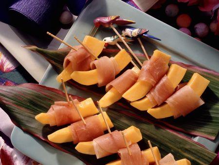 Papaya mit Schinken