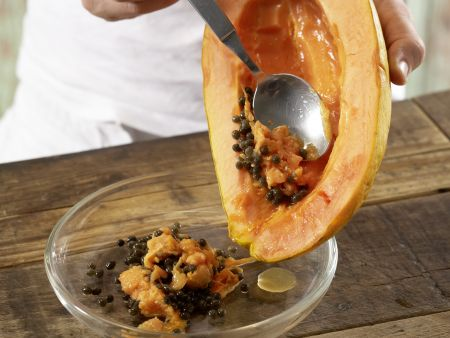 Papaya-Mozzarella-Carpaccio: Zubereitungsschritt 2