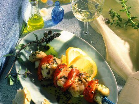Paprika-Fisch-Spieße mit Zitronen-Minz-Marinade