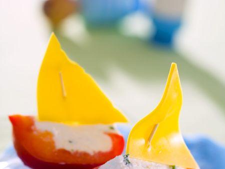 Paprika-Schiffe für Kinder