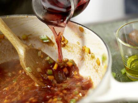 Pasta in Hirsch-Schoko-Sauce: Zubereitungsschritt 5