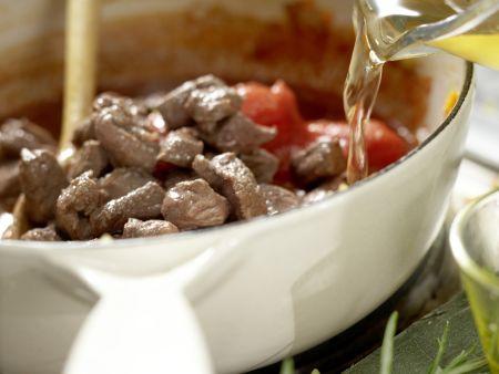 Pasta in Hirsch-Schoko-Sauce: Zubereitungsschritt 6