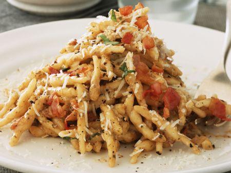 Pasta mit Pilzen und Speck