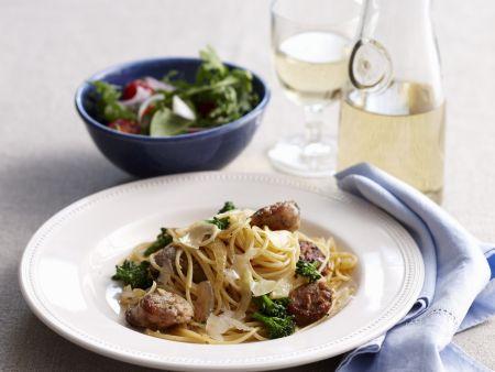Pasta mit Würstchen, Fenchel und Parmesan