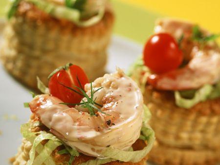 Pastetchen mit Shrimpscocktail