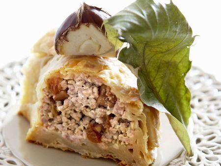 Pastete mit Käse-Maroni-Füllung