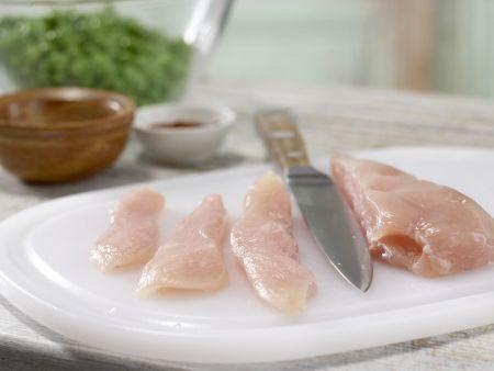Pfannkuchen-Hähnchen-Wraps: Zubereitungsschritt 2