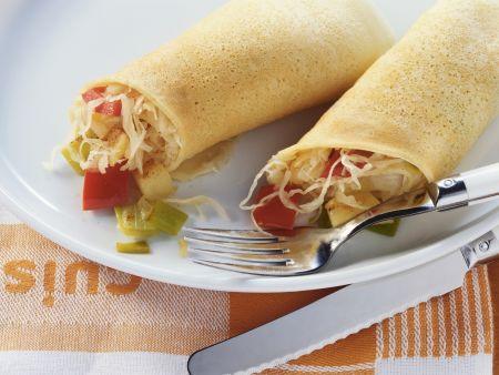 Rezept: Pfannkuchen mit Gemüse und Sauerkraut