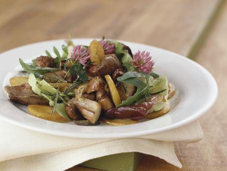 Pilz-Kartoffel-Salat mit Hähnchenleber