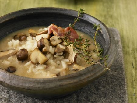 Pilz-Reis-Suppe mit Bacon und Parmesan