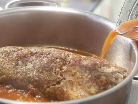 Pilzhackbraten in Rahmsauce: Zubereitungsschritt 8