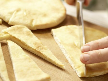 Pita-Ecken mit Erbsen-Dip: Zubereitungsschritt 3