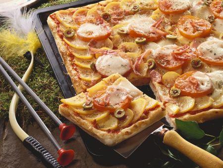 Pizza mit Kartoffeln