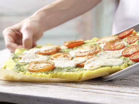 Polenta-Pizza mit Tomaten: Zubereitungsschritt 6