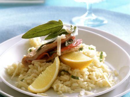 Rezept: Putenschnitzel alla Saltimbocca mit Zitronen-Risotto
