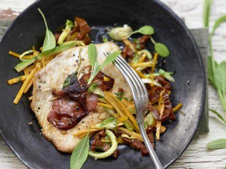 Rezept: Putenschnitzel mit Lachsschinken