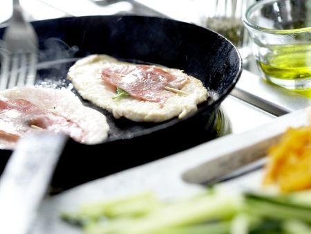 Putenschnitzel mit Lachsschinken: Zubereitungsschritt 6
