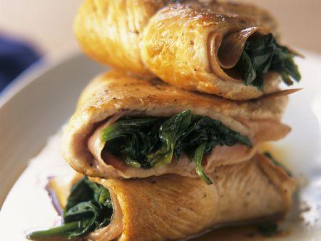 Putenschnitzel mit Spinat-Schinken-Füllung