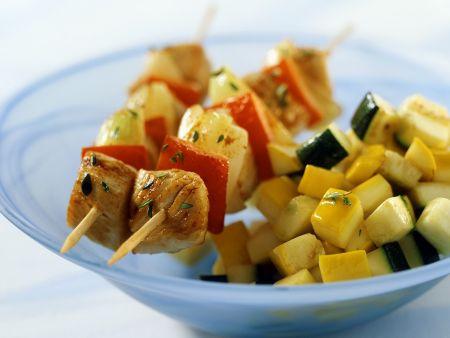 Putenspieße mit Gemüse