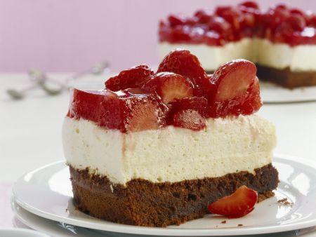Quark-Schoko-Schnitte mit Erdbeeren