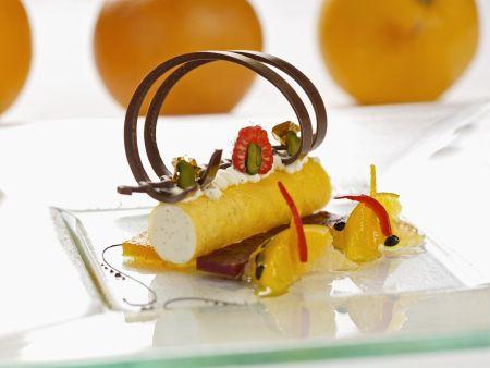 Quarkcreme mit Safran-Cannelloni und Zitrusfrüchtesalat