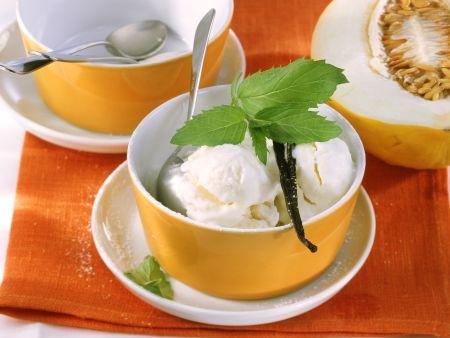 Quarkeis mit Honigmelone