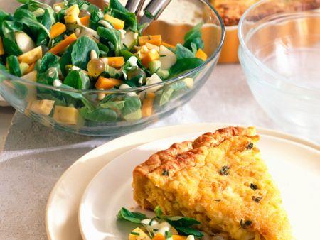 Quiche mit Feldsalat und Birnen