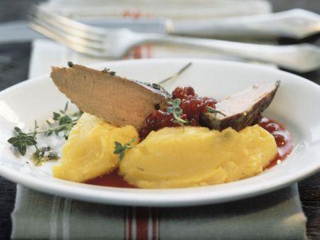 Rehfilet mit Kürbis-Kartoffel-Stampf