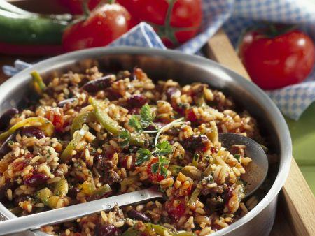 Rezept: Reis-Bohnen-Pfanne mit Rindfleisch