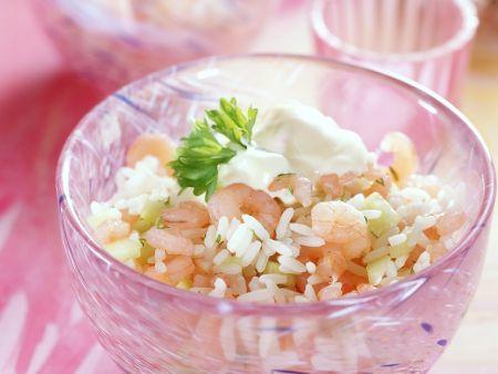 Reis-Garnelen-Salat mit Gurke