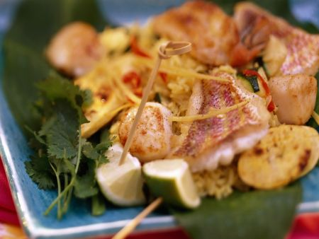 Reis mit Meeresfrüchten auf karibische Art