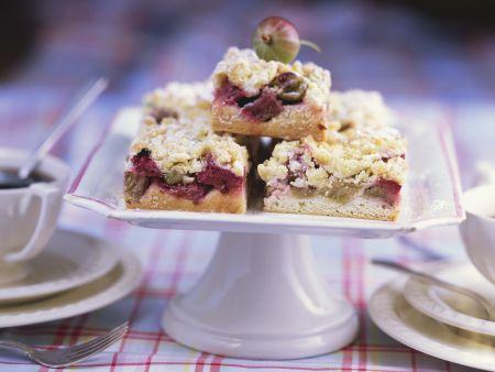 Rhabarber-Stachelbeer-Kuchen mit Streuseln
