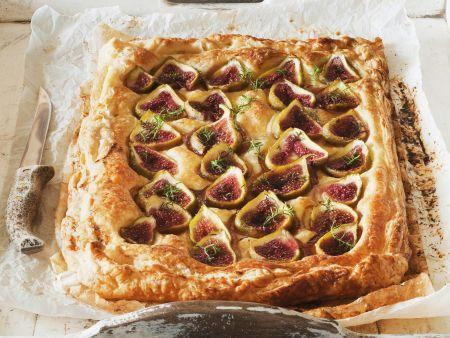 Ricotta-Feigen-Kuchen mit Mandeln und Honig
