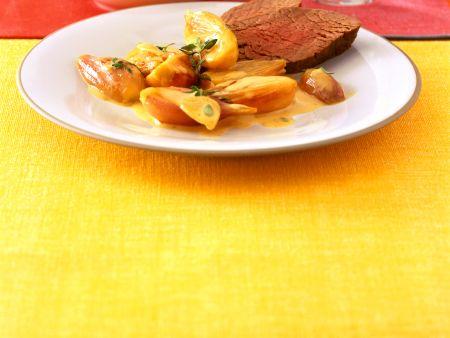 Rinderfilet mit Honig-Rahm-Schalotten