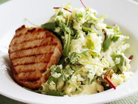 Rinderfiletsteak mit Salat-Püree