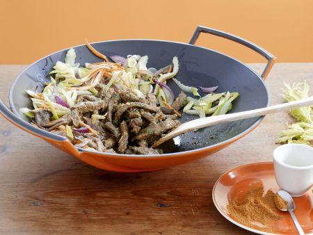 Rinderfiletstreifen mit Wok-Gemüse