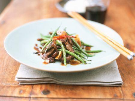 Rindfleisch mit Bohnen aus dem Wok